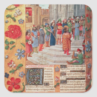 King David and Musicians, from the Breviary Square Sticker