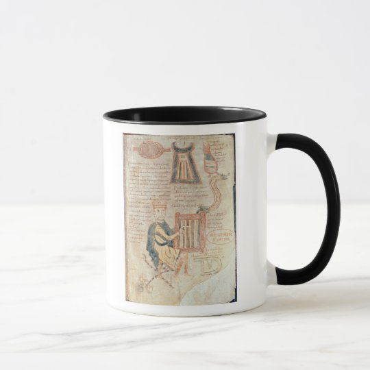 King David playing a psaltery from a psalter Mug