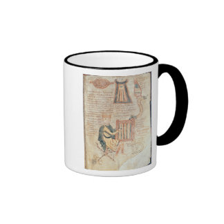 King David playing a psaltery from a psalter Ringer Coffee Mug