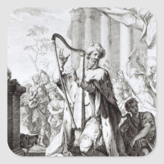 King David Playing the Lyre Square Sticker