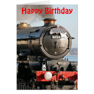 King Edward 1 Steam Engine Happy Birthday Card