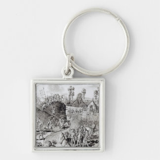 King Edward I's  First Expedition Silver-Colored Square Key Ring