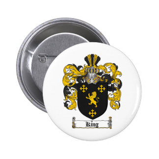 KING FAMILY CREST -  KING COAT OF ARMS 6 CM ROUND BADGE
