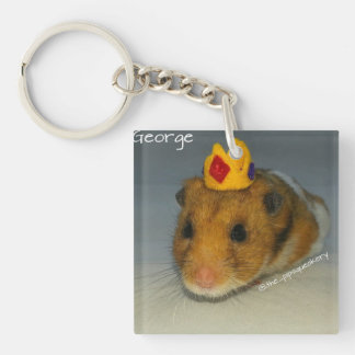 King George Double-Sided Square Acrylic Key Ring