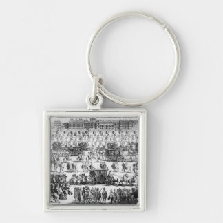 King George I procession to St. James's Palace Silver-Colored Square Key Ring