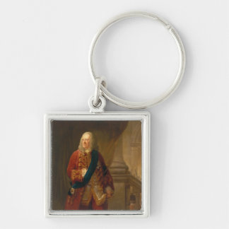 King George II, 1759 Silver-Colored Square Key Ring
