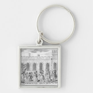 King George III and Queen Charlotte Silver-Colored Square Key Ring