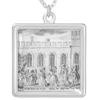 King George III and Queen Charlotte Square Pendant Necklace