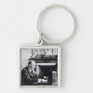 King George V Silver-Colored Square Key Ring
