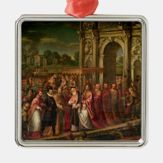 King Henri III  of France visiting Venice Silver-Colored Square Decoration