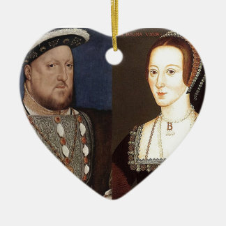 King Henry VIII and Anne Boleyn Ceramic Heart Decoration