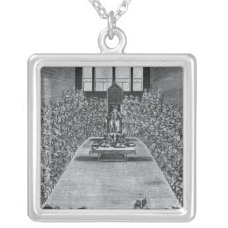 King James I  in the Houses of Parliament, 1624 Silver Plated Necklace