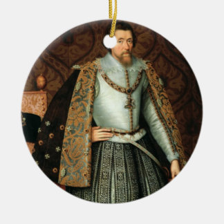 King James I of England (1566-1625) (oil on canvas Round Ceramic Decoration