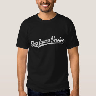 King James Version Script Logo in white distressed Tshirts