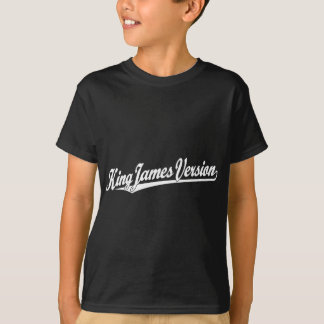 King James Version Script Logo in white T Shirt