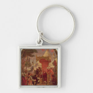 King John Granting the Magna Carta in 1215, 1900 Silver-Colored Square Key Ring