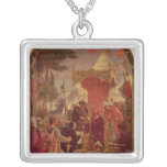 King John Granting the Magna Carta in 1215, 1900 Square Pendant Necklace