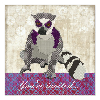 "King Julian Royal Purple &  White Invitation 5.25"" Square Invitation Card"