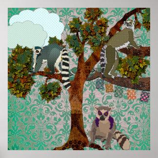King Jullian & Lemurs Out On A Limb Green Damask P Posters