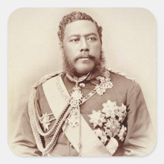 King Kalakaua (1836-91), late c19th (sepia photo) Square Sticker