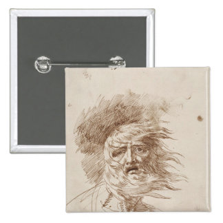 King Lear in the Storm (pen and bistre ink on pape 15 Cm Square Badge