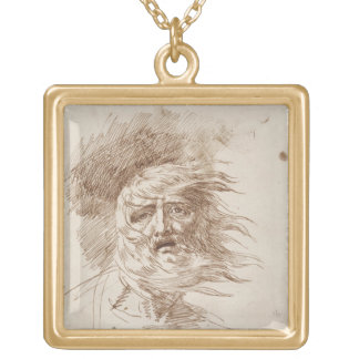 King Lear in the Storm (pen and bistre ink on pape Necklace