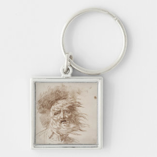 King Lear in the Storm (pen and bistre ink on pape Silver-Colored Square Key Ring