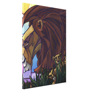 King Lion and Cubs Stretched Canvas Prints