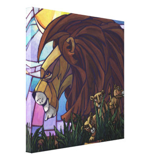 King Lion and Cubs Gallery Wrapped Canvas