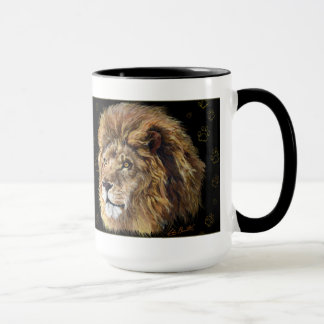 King Lion Paw Print Mug, Black Mug