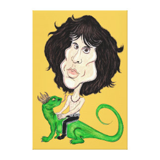 King Lizard Rockstar Caricature Drawing Canvas