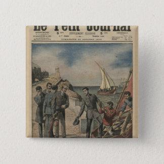 King Manuel II of Portugal bidding farewell 15 Cm Square Badge