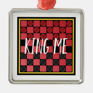 King Me Silver-Colored Square Decoration