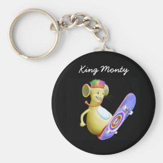 King Monty on Skate Board Basic Round Button Key Ring