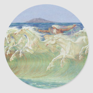 KING NEPTUNE'S HORSES RIDE THE WAVES CLASSIC ROUND STICKER