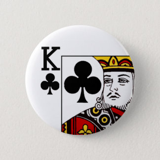 King Of Clubs Playing Card Button Badge