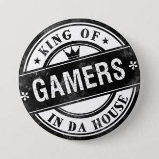 King of Gamers Funny Button for Nerds and Geeks