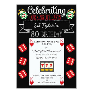 King of Hearts 80th Birthday Party Invitation