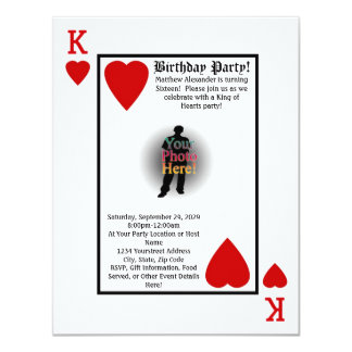 King of Hearts Guys Birthday Party Invitation