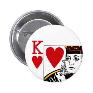 King Of Hearts Playing Card Button Badge