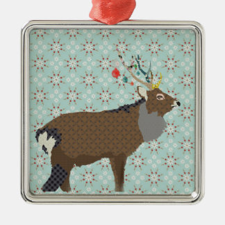 King of Hill Square Metal Christmas Ornament