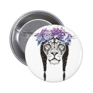 King of lions 6 cm round badge