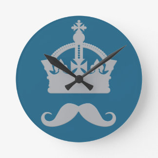 King of Mustaches custom color wall clock