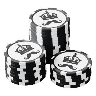 King of Mustaches custom monogram poker chips