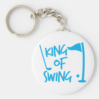 King of SWING! golf ball and golf club Basic Round Button Key Ring