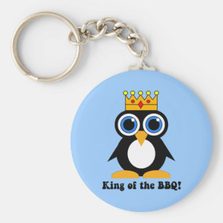 king of the bbq basic round button key ring