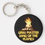 King of the Flames Basic Round Button Key Ring
