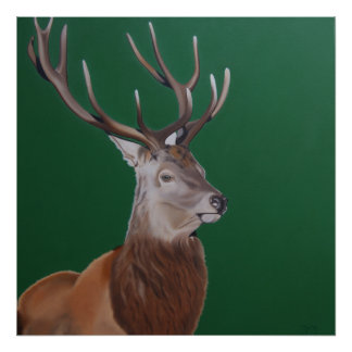 """ King of the Forest "" Proud stag on green. Poster"