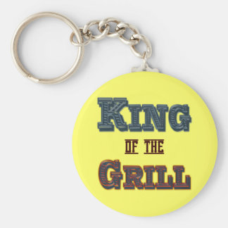 King of the Grill BBQ Cooking Slogan Basic Round Button Key Ring
