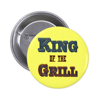 King of the Grill BBQ Cooking Slogan Button